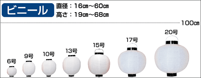 丸型ビニール提灯のサイズ展開